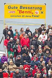 """18.02.2011, Kandahar, Garmisch Partenkirchen, GER, FIS Alpin Ski WM 2011, GAP, Herren, Riesenslalom, im Bild Fans und Transparent mit der Aufschrift """"Gute Besserung Benni"""" für Benjamin Raich during men's Giant Slalom Fis Alpine Ski World Championships in Garmisch Partenkirchen, Germany on 18/2/2011. EXPA Pictures © 2011, PhotoCredit: EXPA/ J. Groder"""
