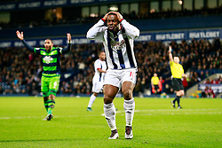 Victor Anichebe of West Bromwich Albion looks dejected after his shot is saved by Lukasz Fabianski of Swansea City - Mandatory byline: Rogan Thomson/JMP - 02/02/2016 - FOOTBALL - The Hawthornes - West Bromwich, England - West Bromwich Albion v Swansea City - Barclays Premier League.