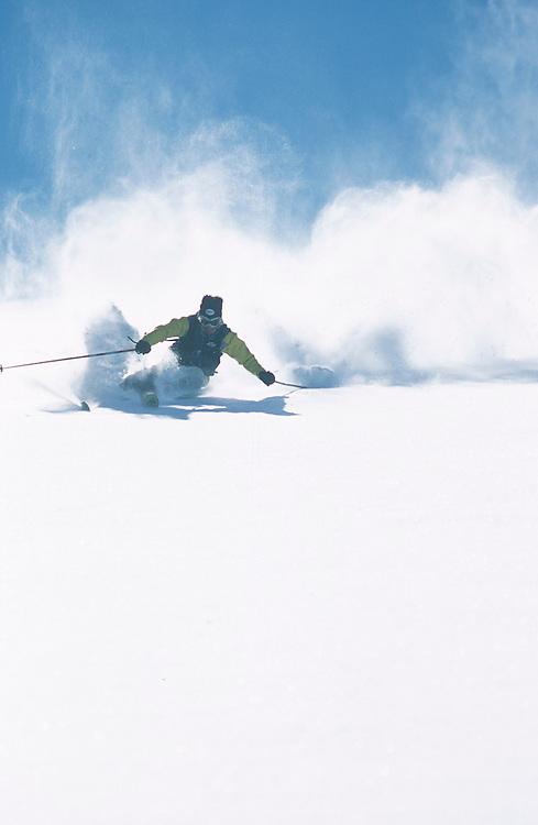 Kina Pickett powder skiing.