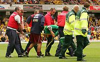 Photo: Frances Leader.<br /> Watford v Burnley. Coca Cola Championship.<br /> 20/08/2005.<br /> <br /> Burnley's Goal Keeper Brian Jensen is stretchered off.