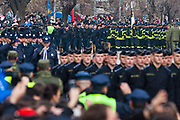 Feb. 17, 2013 - Pristina, Kosovo - Members of the Kosovo Security Force (KSF) parade in Pristina on February 17, 2013 during the celebrations marking the fifth anniversary of Kosovo's unilateral declaration of independence from Serbia. Almost 100 countries, including the United States, have recognized Kosovo since ethnic Albanians proclaimed independence on February 17, 2008, almost a decade after the 1998-1999 conflict that ended with a NATO bombing campaign against late Serbian strongman Slobodan Milosevic's forces. (Credit Image: © Vedat Xhymshiti/ZUMAPRESS.com)