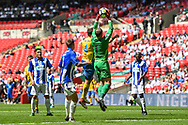 Chris Rackley of Thatcham Town (1) collects the ball during the FA Vase match between Stockton Town and Thatcham Town at Wembley Stadium, London, England on 20 May 2018. Picture by Stephen Wright
