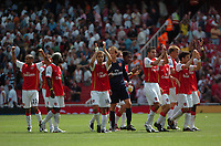 Photo: Tony Oudot. <br /> Arsenal v Fulham. Barclays Premiership. 12/08/2007. <br /> Arsenal celebrate their victory at the end of the match