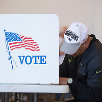 Christian Roman fills out his ballot for the City of Gallup 2020 Municipal Officer Election Tuesday, March 3 at the McKinley County Courthouse Rotunda in Gallup.