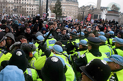 © Under license to London News Picures. Students march and clash with police in the streets around Westminster today (30/11/2010) protesting against planned increases in tuition fees and maintenance grant cuts. This is the third student day of action. Photo credit should read: Fuat Akyuz/London News Pictures