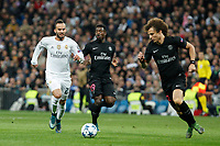 Real Madrid´s Jese Rodriguez and Paris Saint-Germain´s Serge Aurier and David Luiz during Champions League soccer match between Real Madrid  and Paris Saint Germain at Santiago Bernabeu stadium in Madrid, Spain. November 03, 2015. (ALTERPHOTOS/Victor Blanco)
