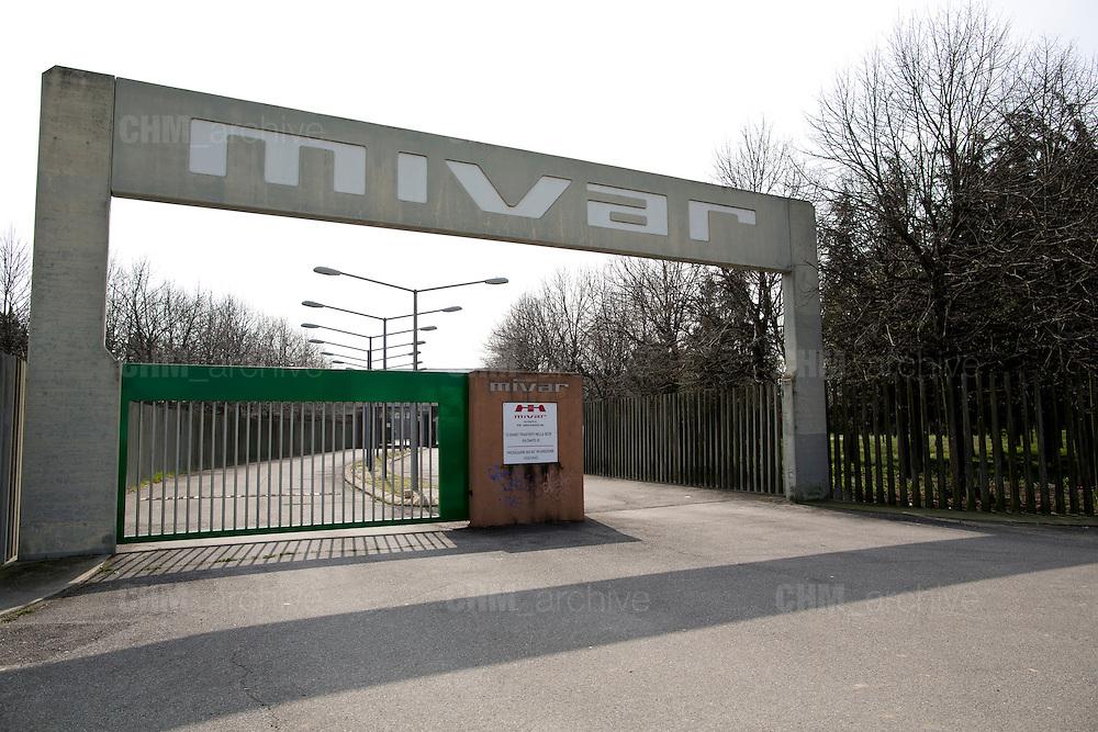 L'ingresso della nuova fabbrica Mivar, vuota e mai utilizzata, Abbiategrasso 18 marzo 2014. Guido Montani / OneShot