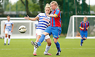 Sarah Jones with the clerance during the Pre-Season Friendly match between Crystal Palace LFC and Queens Park Rangers Ladies at the The Stadium, Bromley, United Kingdom on 19 July 2015. Photo by Michael Hulf.
