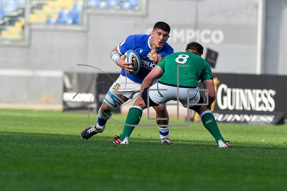 Roma 27/02/2021, Stadio Olimpico<br /> Guinness Six Nations 2021<br /> Italia vs Irlanda <br /> <br /> Marco Riccioni e CJ Stander