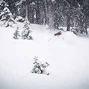 Tyler Hatcher drops into the deepest storm of the 2012 season in the backcountry at Mount Baker Ski Area.