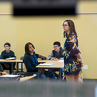 Ninth grade teacher Kellie Wright begins class with a few questions for her students at Rehoboth Christian High School in Rehoboth, New Mexico.
