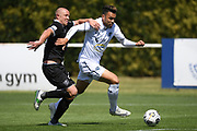 Auckland City FC's Kayne Vincent makes a break under pressure from Hawke's Bay United's Bill Robertson in the Handa Premiership football match, Hawke's Bay United v Auckland City FC, Bluewater Stadium, Napier, Sunday, January 31, 2021. Copyright photo: Kerry Marshall / www.photosport.nz