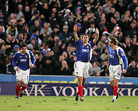 Photo: Lee Earle.<br /> Portsmouth v West Bromwich Albion. The Barclays Premiership. 17/12/2005. Portsmouth's Svetoslav Todorov (C) celebrates his opening goal.