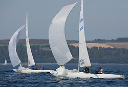 Largs Regatta Festival 2019<br /> <br /> Close racing in the Etchells class with HKG938, Hammer of Ashton, Micheal Todd, Royal Gourock YC, Etchells 22 and IRL953, Excalibur, Brian Young, Fairlie Yacht Club, Etchells 22