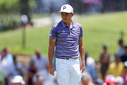 May 25, 2018 - Forth Worth, TX, U.S. - FORT WORTH, TX - MAY 25: Rickie Fowler checks out the #5 green during the second round of the Fort Worth Invitational on May 25, 2018 at Colonial Country Club in Fort Worth, TX. (Photo by Andrew Dieb/Icon Sportswire) (Credit Image: © Andrew Dieb/Icon SMI via ZUMA Press)
