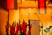 """Stage prepared for the ceremony including the awarding of the European Charles Prize  during the 71st Sudeten German meeting at the """"Philharmonie im Gasteig"""" in Munich."""