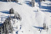 Backcountry ski tracks near Paradise in Mount Rainier National Park, Washington.