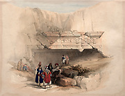 Entrance to the tomb of kings, Jerusalem (Burial site of Queen Helena of Adiabene). Coloured lithograph by Louis Haghe after David Roberts