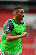 Charlton Athletic forward Karlan Ahearne-Grant (18) warming up during the EFL Sky Bet League 1 match between Charlton Athletic and Shrewsbury Town at The Valley, London, England on 11 August 2018.