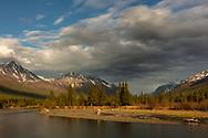 Evening light on Eagle River Valley in Southcentral Alaska. Spring.