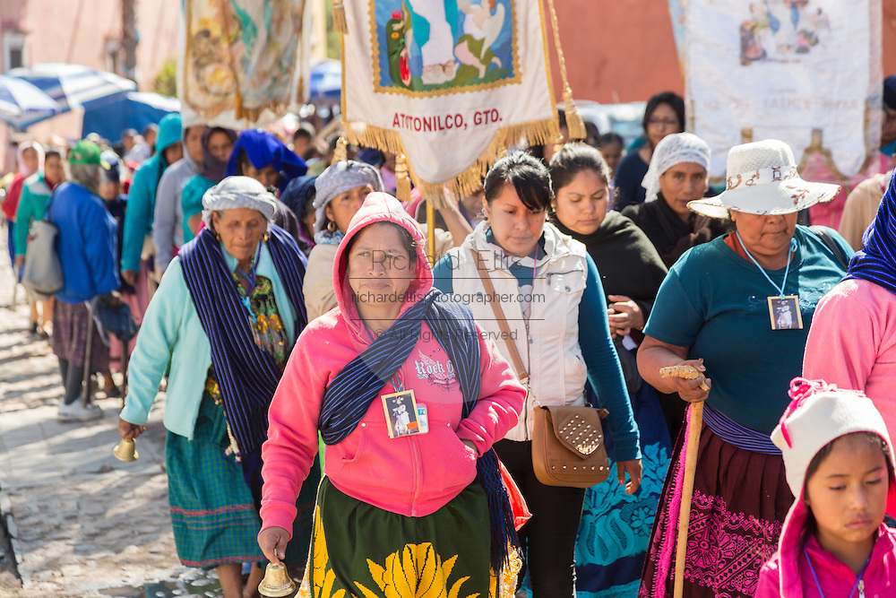 Indigenous pilgrims holds a procession at the Sanctuary of Atotonilco an important Catholic shrine in Atotonilco, Mexico.