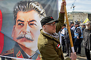 Members of the Communist Party of Great Britain gather with the face of Soviet leader Josef Stalin on banners in Trafalgar Square during the traditional May Day celebrations in the capital, on 1st May 2018, in London, England.