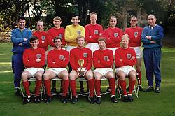 England team group (back row, l-r) Harold Shepherdson, Nobby Stiles, Roger Hunt, Gordon Banks, Jack Charlton, George Cohen, Ray Wilson, Sir Alf Ramsay. (Front row, l-r) Martin Peters, Geoff Hurst, Bobby Moore, Alan Ball and Bobby Charlton.