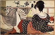 Lovers: Illustration for 'The Pillow Book' ,1788. Coloured woodblock print (ukiyo-e). Kitanga Utamaro (1754-1806) Japanese painter and printmaker: