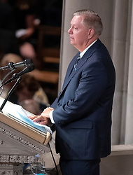 United States Senator Lindsey Graham (Republican of South Carolina) reads a passage at the funeral service for the late US Senator John S. McCain, III (Republican of Arizona) at the Washington National Cathedral in Washington, DC, USA on Saturday, September 1, 2018. Photo by Ron Sachs/CNP/ABACAPRESS.COM