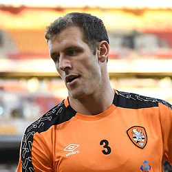 BRISBANE, AUSTRALIA - JANUARY 28: Luke DeVere of the Roar warms up during the round 17 Hyundai A-League match between the Brisbane Roar and Western Sydney Wanderers at Suncorp Stadium on January 28, 2017 in Brisbane, Australia. (Photo by Patrick Kearney/Brisbane Roar)