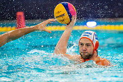 Thomas Lucas of the Netherlands in action against France during the Olympic qualifying tournament. The Dutch water polo players are on the hunt for a starting ticket for the Olympic Games on February 17, 2021 in Rotterdam