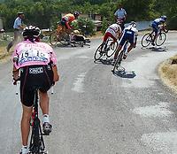 "SYKKEL - TOUR DE FRANCE 2003 - STEP9 - BOURG D'OISANS > GAP - 14072003 - PHOTO: CROSNIER MILLEREAU / DPPI / DIGITALSPORT<br /> <br /> NORWAY ONLY<br /> <br /> JOSEBA BELOKI (SPA) / ONCE FALL IN THE ""LA ROCHETTE"" DOWNHILL"