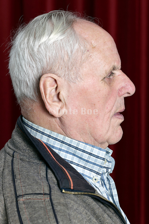 side view portrait of an 89 year old man