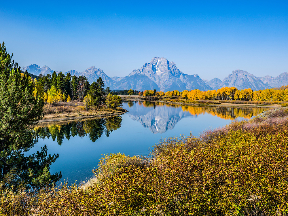 Autumn morning at the Oxbow just below Jackson Dam on the South Fork of the Snake River in Teton National Park near Jackson with Mount Moran Prominent in background. Licensing and Open Edition Prints