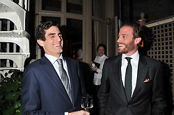 Left to right, LORD DANIEL COMPTON and COUNT RICCARDO LANZA at a dinner hosted by Edward Taylor and Alexandra Meyers in association with Johnnie Walker Blue Label held at Mark's Club, 46 Charles Street, London W1 on 26th April 2012.