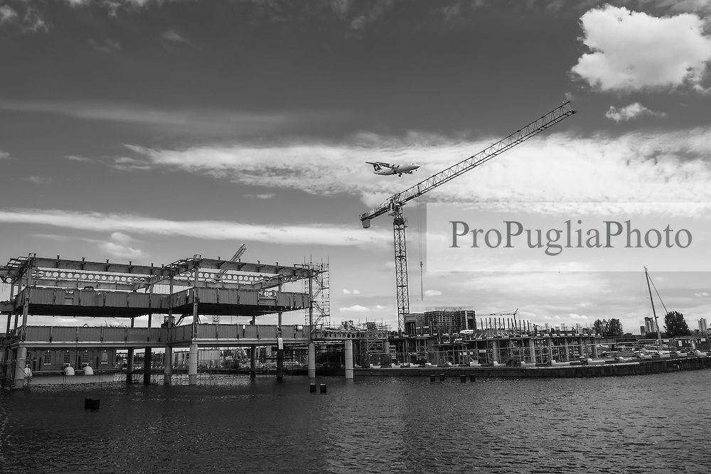 Gallions Reach Docklands. Cranes have become a symbol of London skyline, a costant presence that is evolving London cityscape.