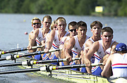 © Intersport Images <br /> email info@Intersport-images.com<br /> [Mandatory Credit;Peter Spurrier/Intersport Images]<br /> <br /> Photo Peter Spurrier<br /> Junior World Rowing Championships 2001<br /> 6  - 11th August 2001<br /> Regattabahn Duisburg -Wedau.<br /> <br /> GB's Men's junior eight, move of the start,in their semi-final at the  Junior Championships in Germay. 20010808 FISA Junior World Rowing Championships, Duisburg. Germany