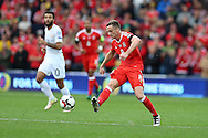 Andy King of Wales in action. Wales v Georgia , FIFA World Cup qualifier, European group D match at the Cardiff city Stadium in Cardiff on Sunday 9th October 2016. pic by Andrew Orchard, Andrew Orchard sports photography