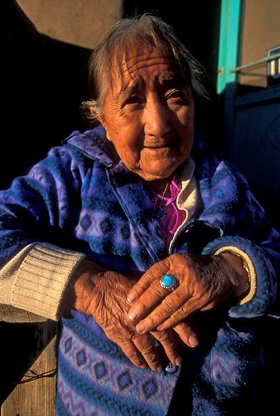 Portrait of Elderly American Indian Woman Wearing Torquoise Ring