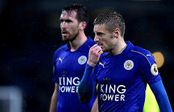 Jamie Vardy of Leicester City and Christian Fuchs of Leicester City look frustrated after defeat to Burnley - Mandatory by-line: Robbie Stephenson/JMP - 31/01/2017 - FOOTBALL - Turf Moor - Burnley, England - Burnley v Leicester City - Premier League