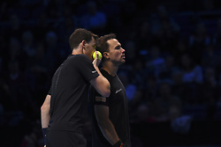 November 13, 2017 - London, United Kingdom - Jamie Murray of Great Britain and Bruno Soares of Brazil speak in the Doubles match during day two of the Nitto ATP World Tour Finals at O2 Arena, London on November 13, 2017. (Credit Image: © Alberto Pezzali/NurPhoto via ZUMA Press)