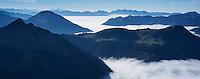 View west from Aggenstein (1987m) along Alp foothils along German - Austria border, Allgäu, Bavaria, Germany