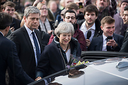 © Licensed to London News Pictures. 15/03/2018. Salisbury, UK. British Prime Minister THERESA MAY is greeted by the public outside The Guild Hall, during a visit to Salisbury, Wiltshire where Former Russian spy Sergei Skripal and his daughter Yulia were found after being poisoned with nerve agent. The couple where found unconscious on bench in Salisbury shopping centre. A policeman who went to their aid is currently recovering in hospital. Photo credit: Ben Cawthra/LNP