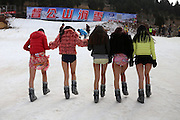 """XUZHOU, CHINA - JANUARY 13: (CHINA OUT) <br /> <br /> No Pants For Skiing<br /> <br /> Beauties take off their pants to ski at Dugongshan Ski Resort when No Pants Day  comes on January 13, 2015 in Xuzhou, Jiangsu province of China. """"World No Pants Day"""" is popular around the world and some of the Chinese experience their """"No Pants Day"""" even in cold winter.<br /> ©Exclusivepix Media"""