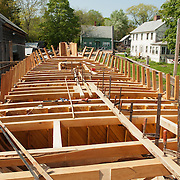 The Schooner Ardelle being built by Harold Burnham, a member of the 11th generation of his family to build wooden boats in Essex, MA
