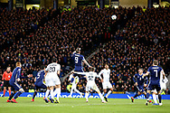 Scotland forward Steven Fletcher (9) (Sheffield Wednesday) goes up for the high ball coming in from the corner during the UEFA Nations League match between Scotland and Israel at Hampden Park, Glasgow, United Kingdom on 20 November 2018.