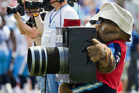 NASHVILLE, TN - SEPTEMBER 18:  T-Rac the Mascot of the Tennessee Titans brings out the big camera as a NFL Photographer during a game against the Baltimore Ravens at LP Field on September 18, 2011 in Nashville, Tennessee.  The Titans defeated the Ravens 26 to 13.   (Photo by Wesley Hitt/Getty Images) *** Local Caption ***