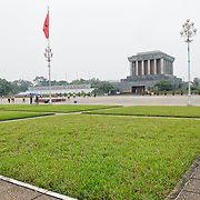 Grass in the large Ba Dinh Square in front of the Ho Chi Minh Mausoleum building. A large memorial in downtown Hanoi surrounded by Ba Dinh Square, the Ho Chi Minh Mausoleum houses the embalmed body of former Vietnamese leader and founding president Ho Chi Minh.