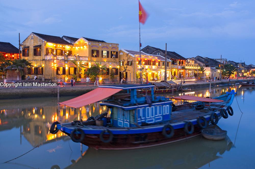 Dusk view of UNESCO world heritage town of Hoian in Vietnam