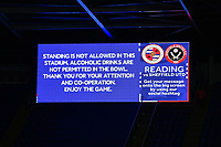 Football - 2019 / 2020 Emirates FA Cup - Fifth Round: Reading vs. Sheffield United<br /> <br /> The large screen, at the Madejski Stadium.<br /> <br /> COLORSPORT/ASHLEY WESTERN